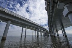 Ponte da beira entre Hong Kong e Shenzhen Imagens de Stock