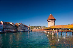 Ponte da capela, Luzern Fotos de Stock Royalty Free