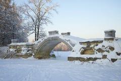 Ponte da corcunda no crepúsculo de janeiro Gatchina, região de Leninegrado imagens de stock royalty free