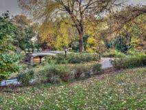 Ponte da curva, Central Park, New York Cit fotos de stock