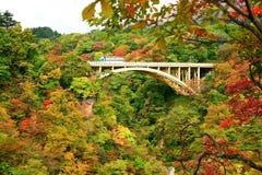Ponte da estrada com as folhas de outono coloridas no desfiladeiro de Naruko foto de stock