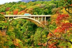 Ponte da estrada com as folhas de outono coloridas no desfiladeiro de Naruko imagem de stock royalty free
