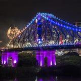 Ponte da história na véspera de anos novos 2016 em Brisbane Foto de Stock