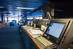 Ponte da navegação no navio de cruzeiros Imagens de Stock Royalty Free