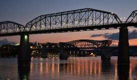 Ponte da rua da noz no por do sol Fotografia de Stock