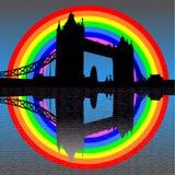 Ponte da torre com arco-íris ilustração do vetor