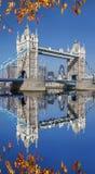Ponte da torre com as folhas de outono em Londres, Reino Unido Foto de Stock Royalty Free