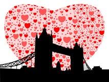 Ponte da torre com corações Imagens de Stock