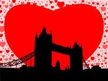 Ponte da torre com corações ilustração stock