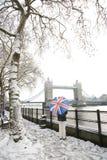Ponte da torre em um dia nevado imagem de stock royalty free