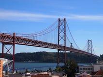 Ponte 25 DE Abril 25 DE Abril Bridge, een iconische mening van Lissabon Royalty-vrije Stock Foto's