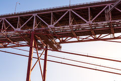 Ponte 25 de Abril Bridge Famous Architectural Sight Lisbona Portu Fotografie Stock