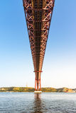 Ponte 25 De Abril Bridge Famous Architectural Sight Lisbonne Portu Image libre de droits