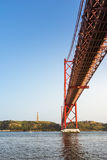 Ponte 25 DE Abril Bridge Famous Architectural Sight Lissabon Portu Royalty-vrije Stock Foto