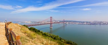 Ponte 25 de Abril Bridge in Lisbon, Portugal. Connects the cities of Lisbon and Almada royalty free stock photography