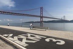 Ponte de 25 Abril, Lissabon Fotografia Royalty Free