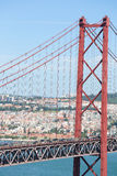Ponte 25 DE Abril in Lissabon, Portugal Stock Afbeelding