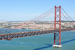 Ponte 25 DE Abril in Lissabon, Portugal Royalty-vrije Stock Afbeeldingen