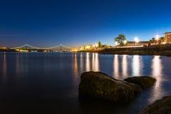 Ponte 25 De Abril Przerzucający most Sławny Architektoniczny Celowniczy Lisbon Port Zdjęcia Stock