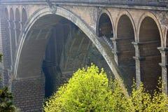 Ponte de Adolfo na cidade de Luxembourg Imagens de Stock Royalty Free