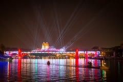 Ponte de Andreevskiy na noite Fotos de Stock