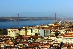 Ponte de Baixa e de Tagus, Lisboa, Portugal Foto de Stock Royalty Free