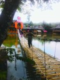 Ponte de bambu através do lago fotografia de stock