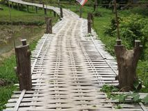 Ponte de bambu da monge budista imagens de stock royalty free