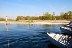 Ponte de barco de flutuação Fotos de Stock Royalty Free