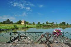 Ponte de barco por Commessaggio, Sabbioneta, Italy imagem de stock