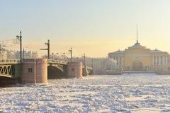 Ponte de Blagoveshchensky (aviso) (12 de novembro de 1850) Imagem de Stock Royalty Free