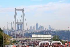 Ponte de Bosporus na maratona Fotografia de Stock