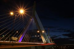 Ponte de Boston Zakim Fotos de Stock Royalty Free