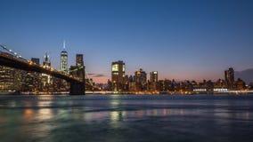 Ponte de Brooklyn após o por do sol Fotografia de Stock Royalty Free