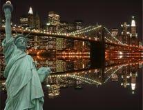 Ponte de Brooklyn e a estátua de liberdade Imagens de Stock