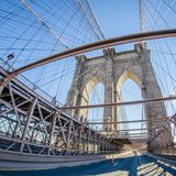 Ponte de Brooklyn e skyline mahattan de New York City Imagem de Stock Royalty Free