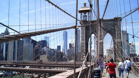 A ponte de Brooklyn em New York Imagens de Stock