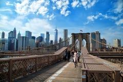 Ponte de Brooklyn em New York no sepia Fotos de Stock Royalty Free