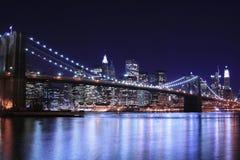 Ponte de Brooklyn na noite Foto de Stock