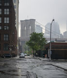 Ponte de Brooklyn no horizonte Foto de Stock