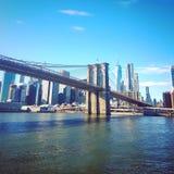 Ponte de Brooklyn no inverno fotografia de stock royalty free
