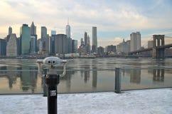 Ponte de Brooklyn no inverno, NYC Foto de Stock Royalty Free