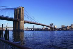Ponte de Brooklyn no por do sol Imagem de Stock