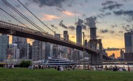 Ponte de Brooklyn no por do sol foto de stock royalty free