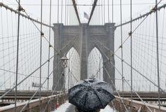 Ponte de Brooklyn, tempestade de neve - New York City Fotos de Stock Royalty Free