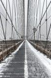 Ponte de Brooklyn, tempestade de neve - New York City Fotografia de Stock