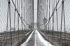 Ponte de Brooklyn, tempestade de neve - New York City Imagens de Stock