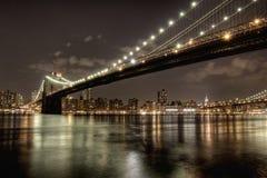Ponte de Brookyn na noite Foto de Stock
