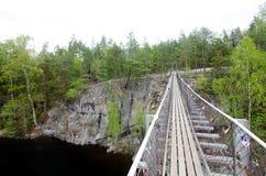 Ponte de corda no parque nacional Repovesi, Finlandia Fotografia de Stock Royalty Free