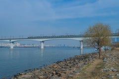 Ponte de cruzamento do metro sobre o rio Imagens de Stock Royalty Free
